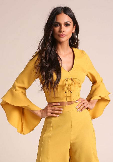 Mustard Lace Up Bell Sleeve Crop Top