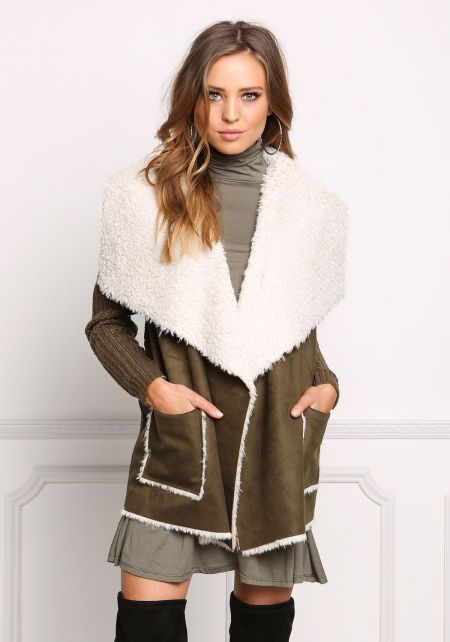 Olive Faux Shearling Suedette Thick Knit Cardigan