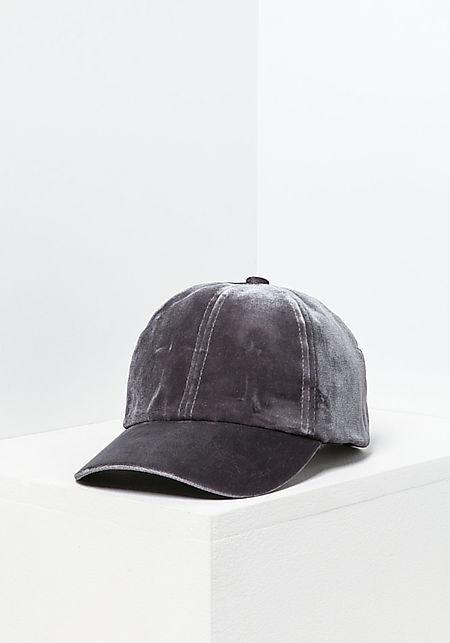 Grey Velvet Baseball Cap