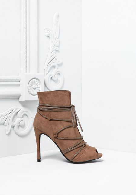 Taupe Suedette Lace Up Peep Toe Heels