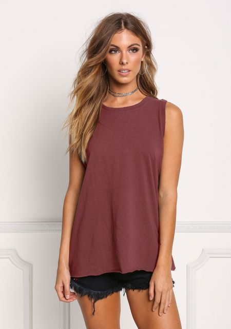 Burgundy Basic Boxy Tank Top