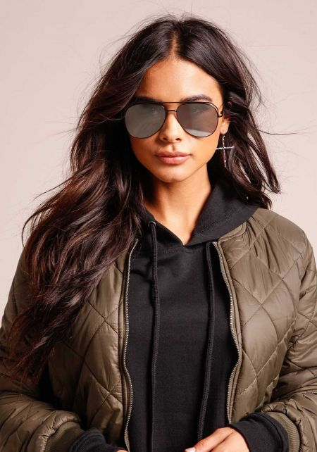 Silver and Black Flat Aviator Top Bar Sunglasses