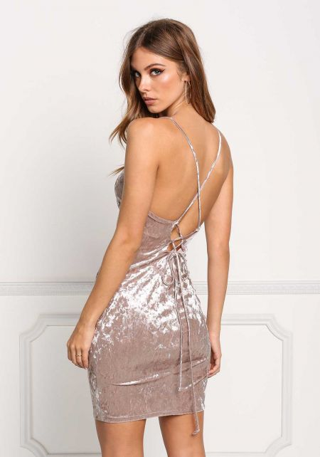 Mocha Crushed Velvet Cross Strap Bodycon Dress