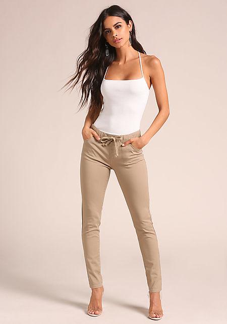 Khaki Drawstring High Rise Skinny Jeans
