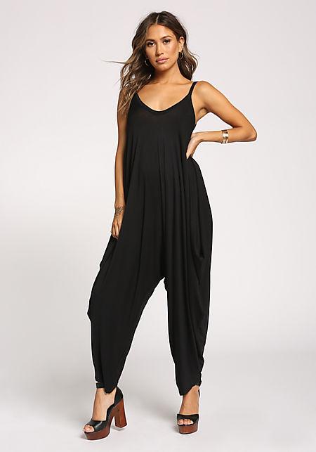 Black Harem Jersey Knit Jumpsuit