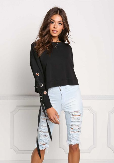 Black Sleeve Lace Up Sweater Top