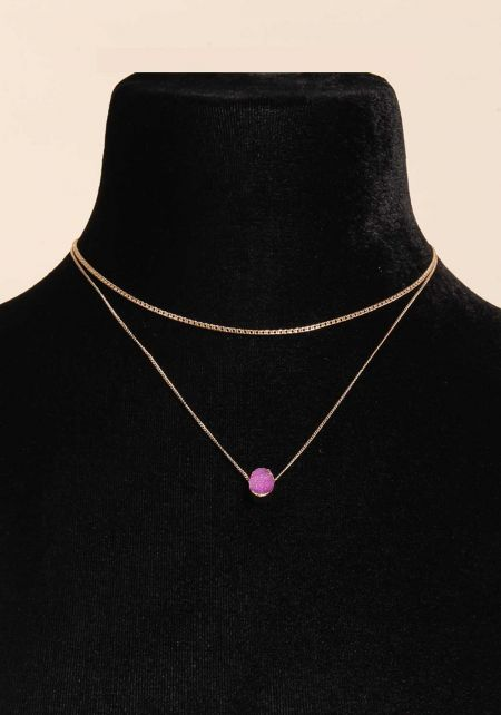 Fuchsia Stone Layered Delicate Necklace