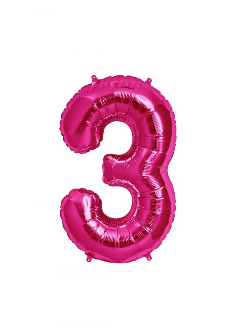 No. 3 Xtra Large Magenta Foil Balloon
