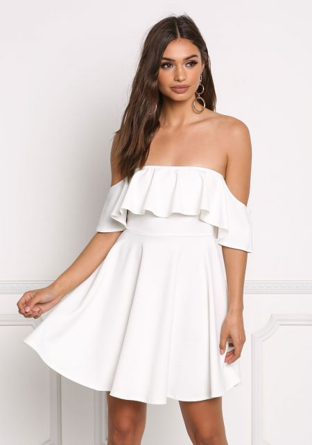 Ivory Off Shoulder Ruffle Flared Dress