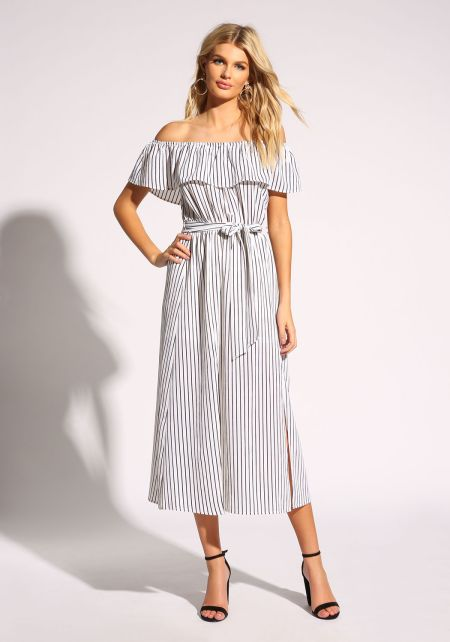 White Pinstripe Off Shoulder Slit Maxi Dress