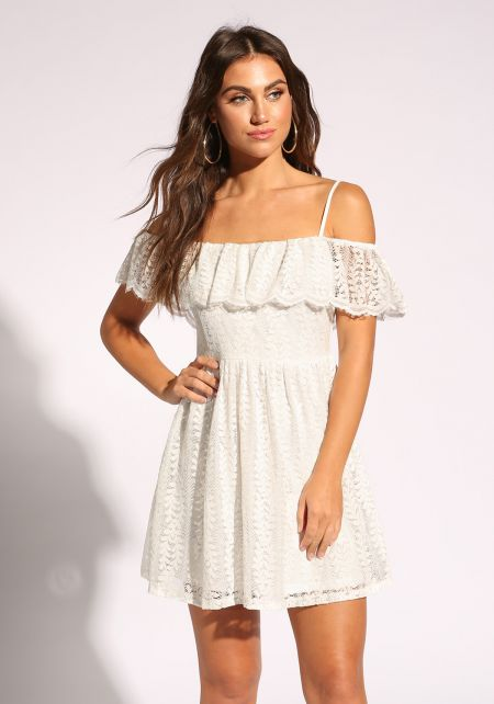 Ivory Lace Layered Flared Dress