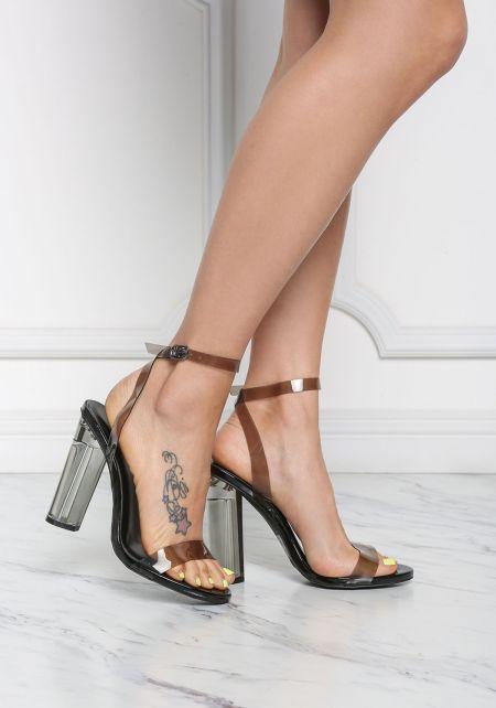 Black Clear Ankle Strap Block Heels