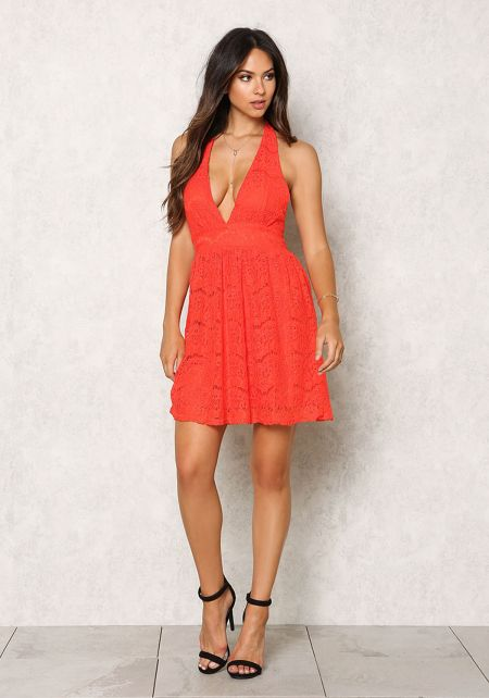 Red Floral Lace Halter Flare Dress