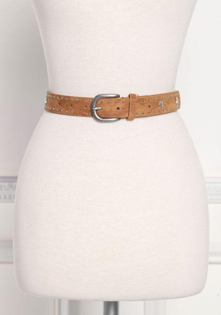 Brown Suedette Star Studded Belt