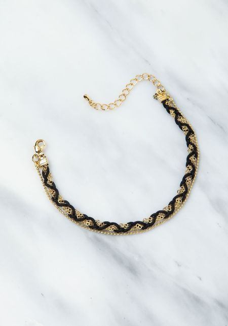 Gold and Black Layered Chain Bracelet