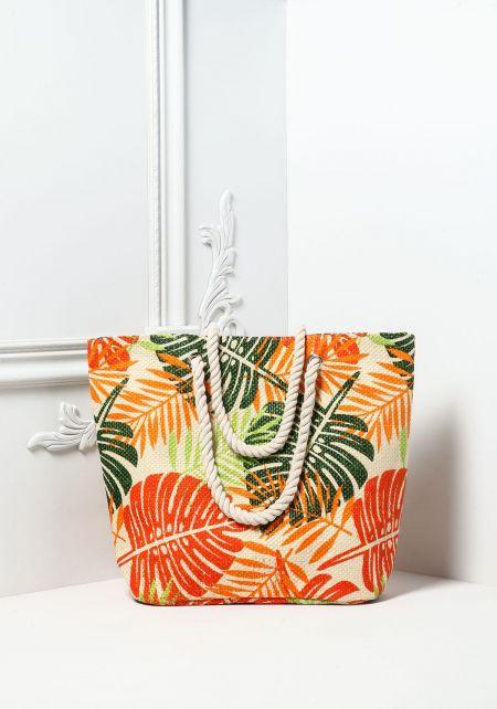 Green Palm Print Straw Tote