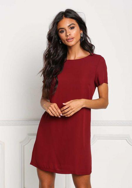 Burgundy Boxy Shift Dress