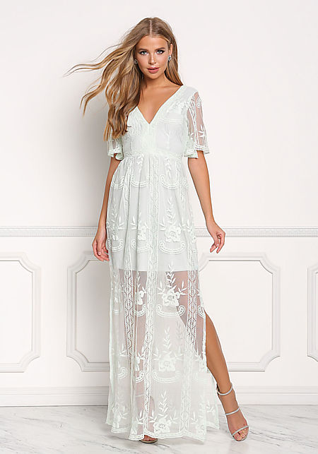 Mint Tulle Embroidered Slit Maxi Dress
