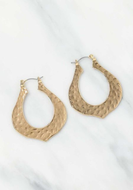 Gold Textured Pointed Earrings