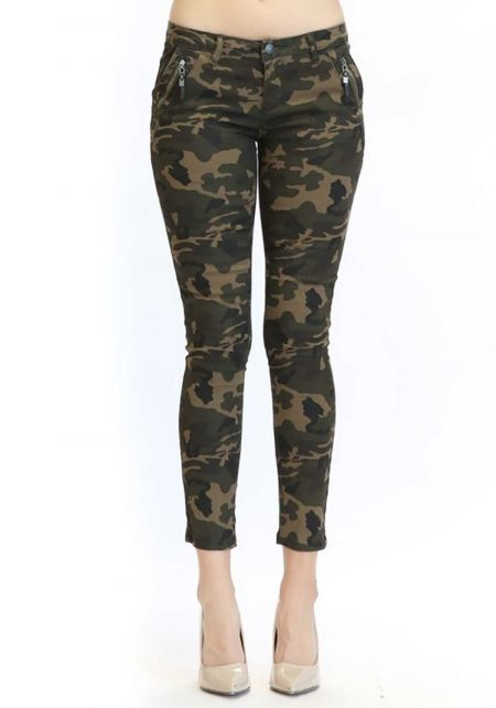 Camouflage Low Rise Zipper Trim Pants