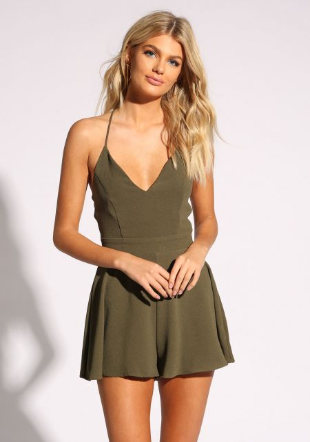 Olive Cross Strap Flared Romper