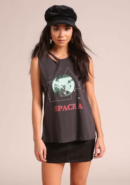 Charcoal Space A Cut Out Tank Top