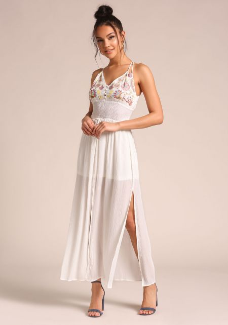 White Smocked Crepe Slit Maxi Dress