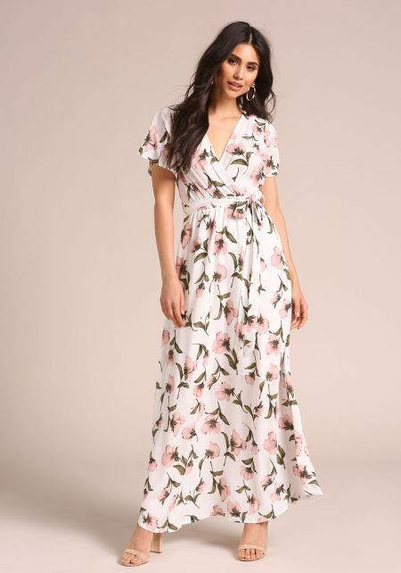 White Floral Faux Wrap Maxi Dress