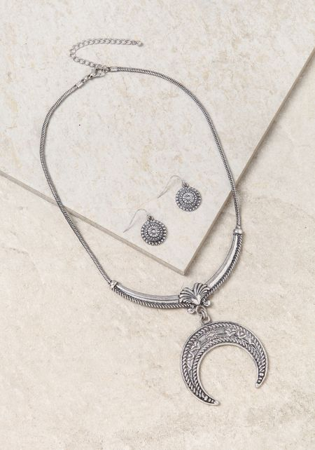 Silver Large Engraved Moon Necklace