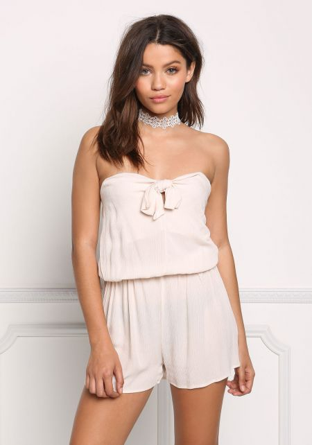 Stone Strapless Bow Front Crepe Romper