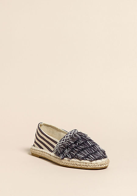 Grey Stripe Fringe Canvas Flats