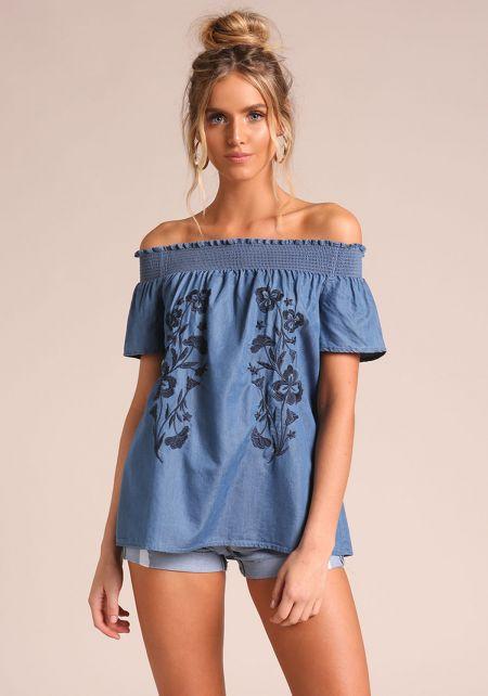 Blue Embroidered Off Shoulder Denim Blouse