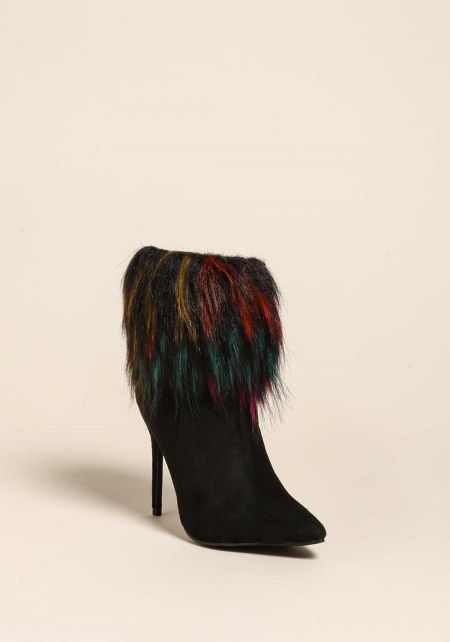 Black Faux Fur Trim Suedette Booties