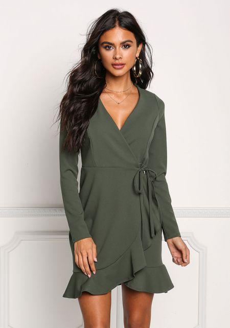 Olive Ruffle Deep V Wrap Dress