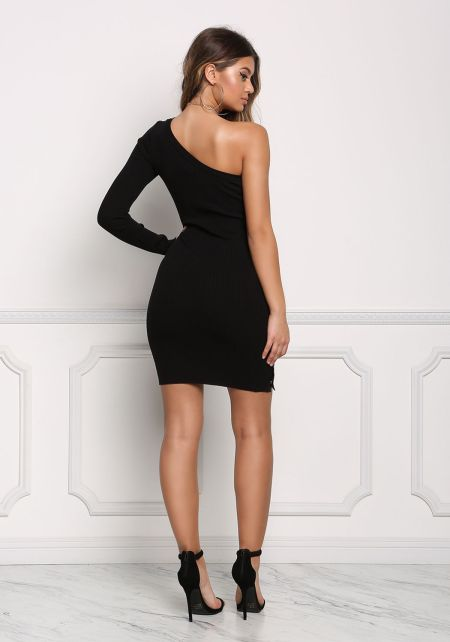 Black One Shoulder Side Button Bodycon Dress