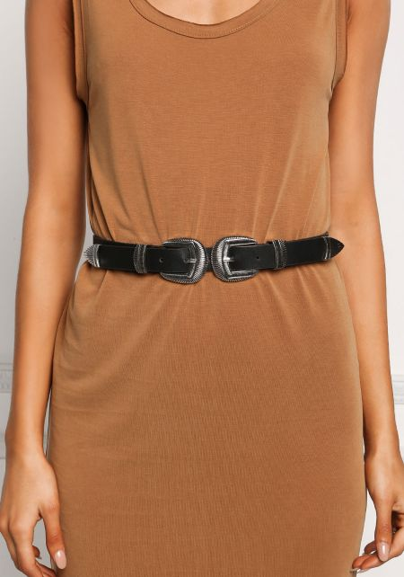 Black and Silver Leatherette Double Buckle Belt
