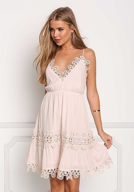 Blush Crochet Trim Cross Strap Flare Dress