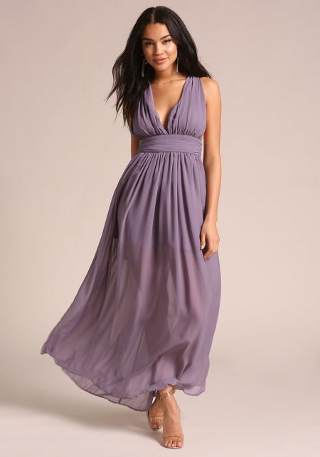Purple Gathered Cross Strap Maxi Dress