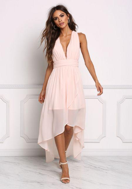 Blush Chiffon Plunge Hi-Lo Dress