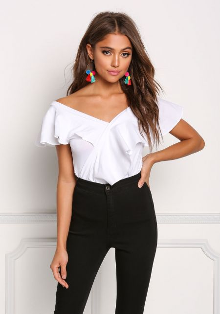 White Ruffle Layered Off Shoulder Blouse