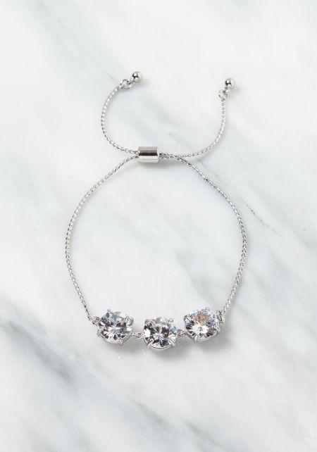 Silver Rhinestone Chain Bracelet