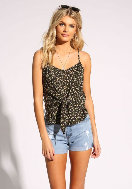 Black Floral Tie Front Tank Top