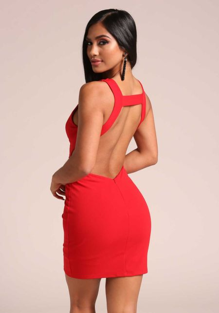 Red Open Back Plunge Bodycon Dress