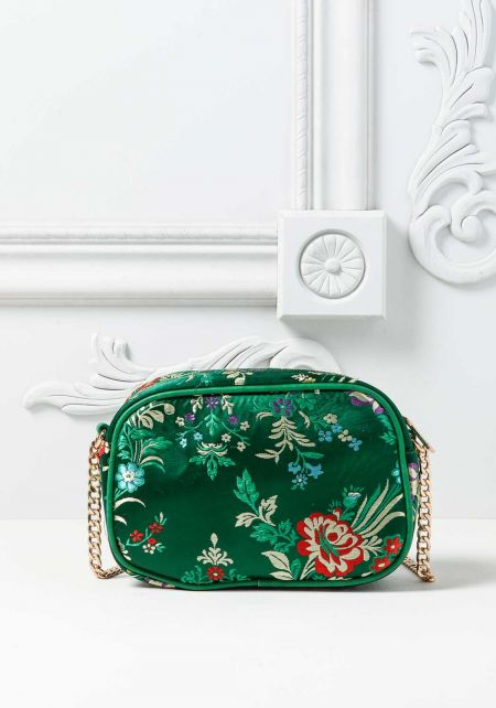Green Quilted Floral Embroidered Crossbody Bag