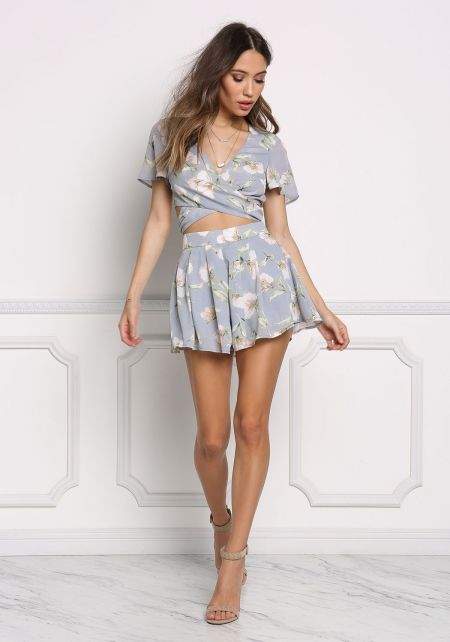 Multi Floral Flared High Rise Shorts