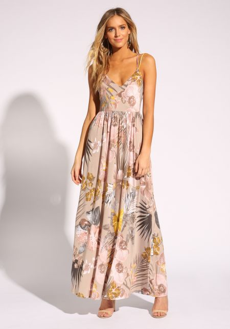 Taupe Floral Cross Strap Maxi Dress