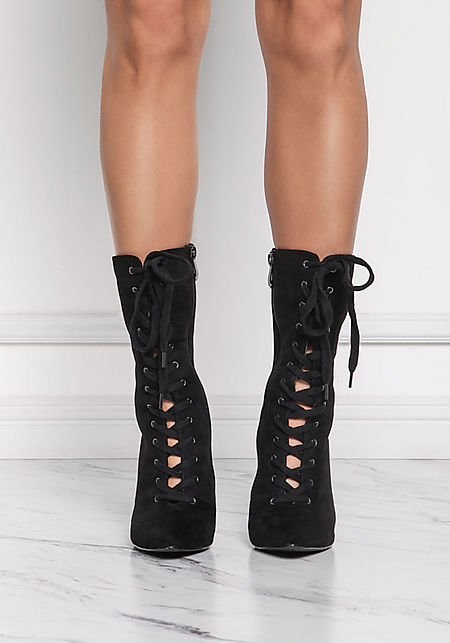 Cape Robbin Black Lace Up Ankle Booties