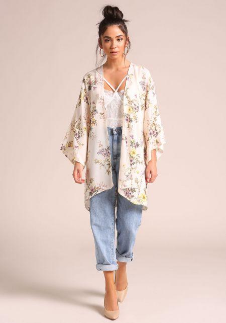 Cream Floral Wide Sleeve Kimono