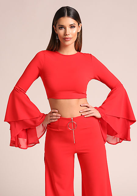 Red Tiered Chiffon Bell Sleeve Crop Top