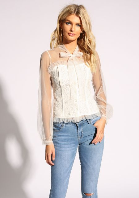 White Bustier Button Down Tulle Blouse